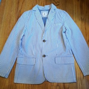 Lands' End Blue and White Striped Seersucker Suit